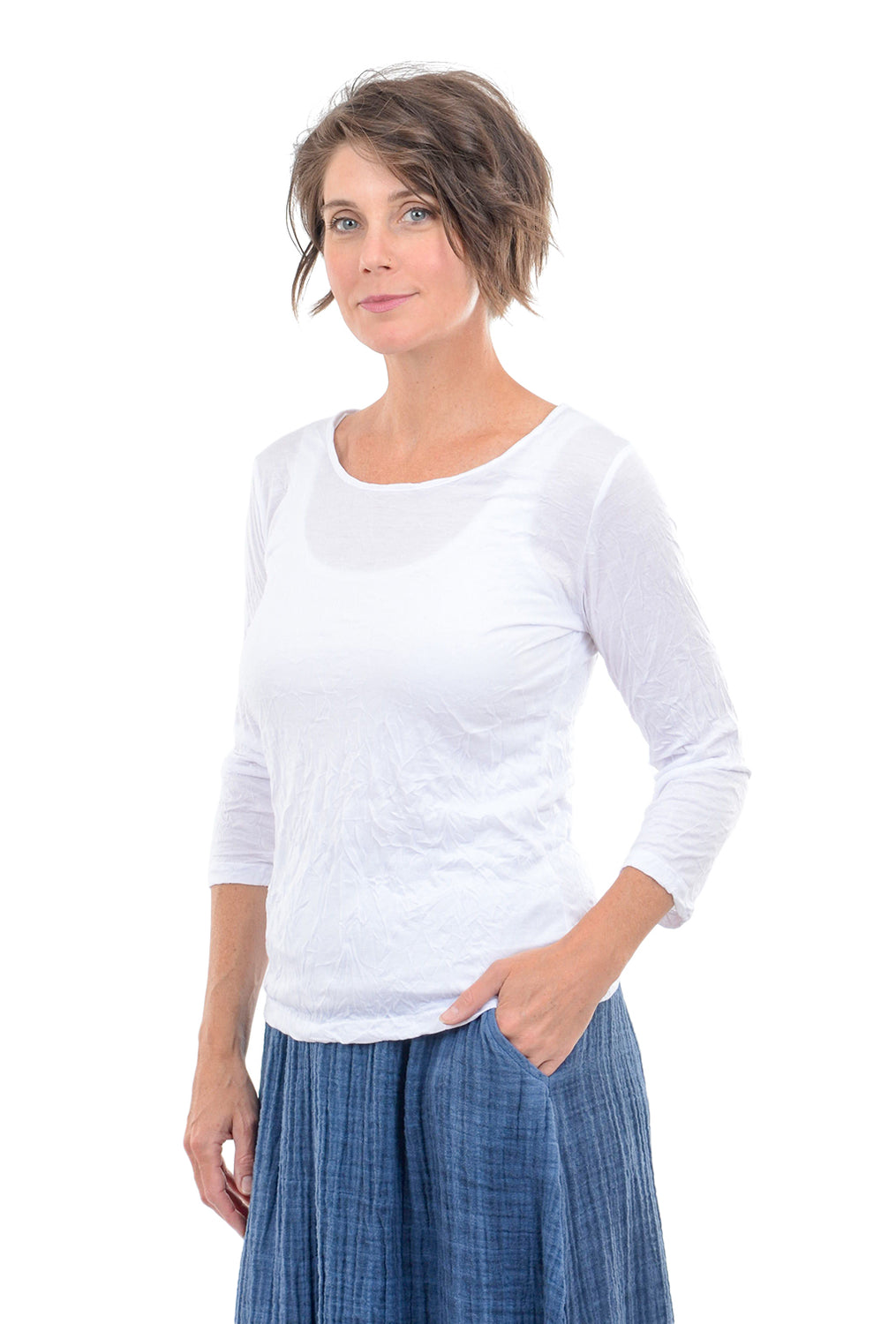 Comfy USA 3/4-Sleeve Crinkle Tee, White