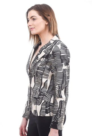 Summum Scattered Leaves Blazer, Sand/Black