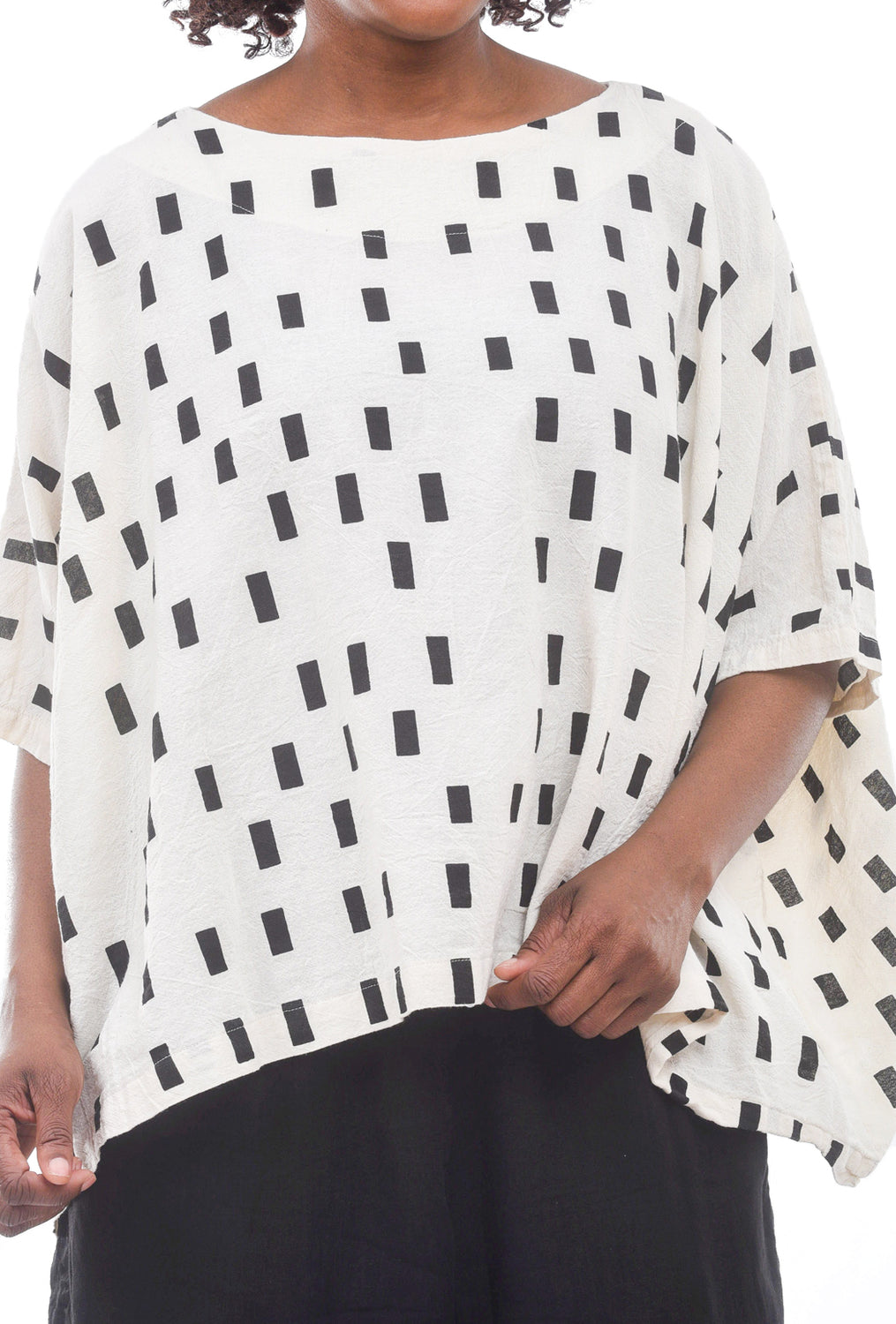 Uzi NYC Print Cube Top, Cream Disko