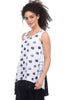Alembika Bleach Dot & Stripe Swing Tank, White