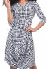 Rundholz Black Label Houndstooth Lantern Dress, White/Black