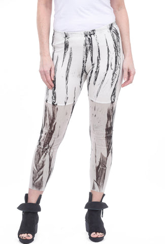 Cynthia Ashby Mesh/Jersey Leggings, White/Black