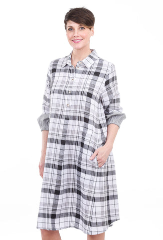 Bika Drora Parkal Dress, Gray Plaid