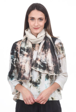Veronique Miljkovitch Polo Double Gauze Scarf, Earth Print