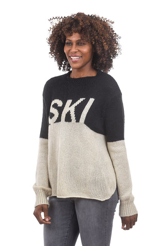 Wooden Ships Ski Colorblock Sweater, Black/Off White