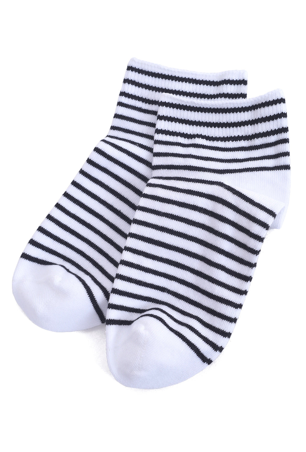 Little River Sock Mill Striped Bootie, White/Black One Size White