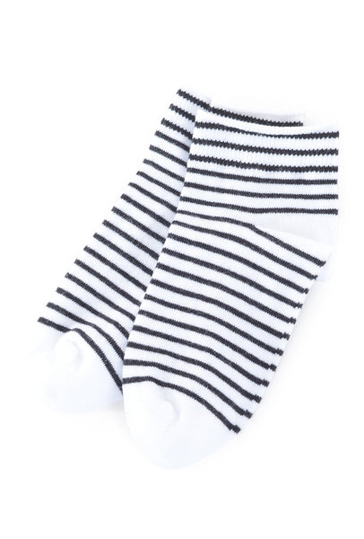 Little River Sock Mill Striped Bootie, White/Black