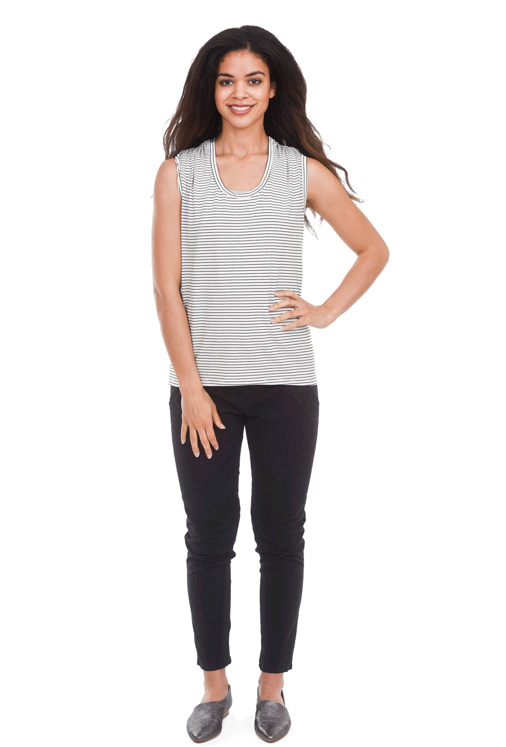 Sarah Liller Chloe T-Shirt, Cloud Stripe