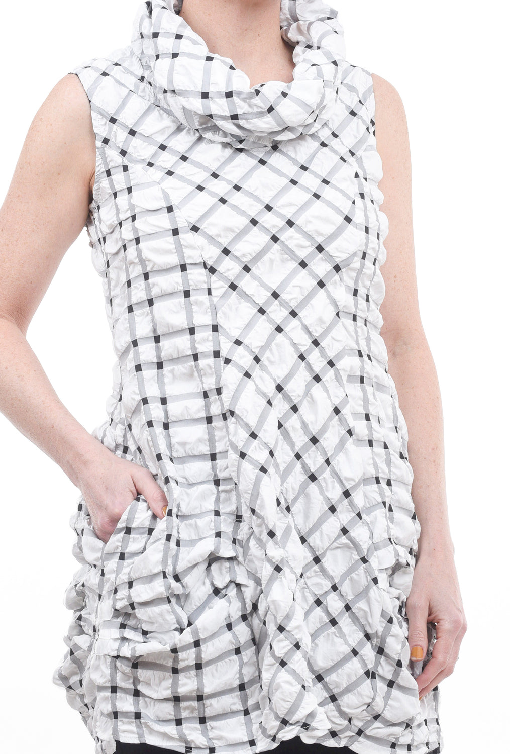 Niche Pucker Perception Tunic, White/Black