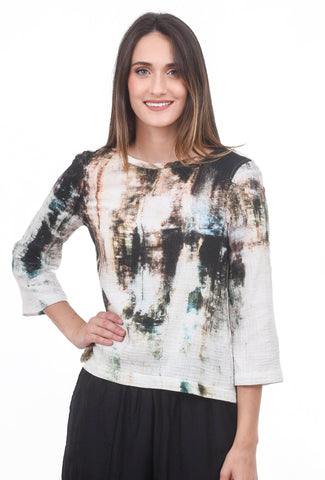 Veronique Miljkovitch Grace Double-Gauze Top, Earth Print