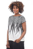 Uzi NYC Print Boxy Top, Feather Cream
