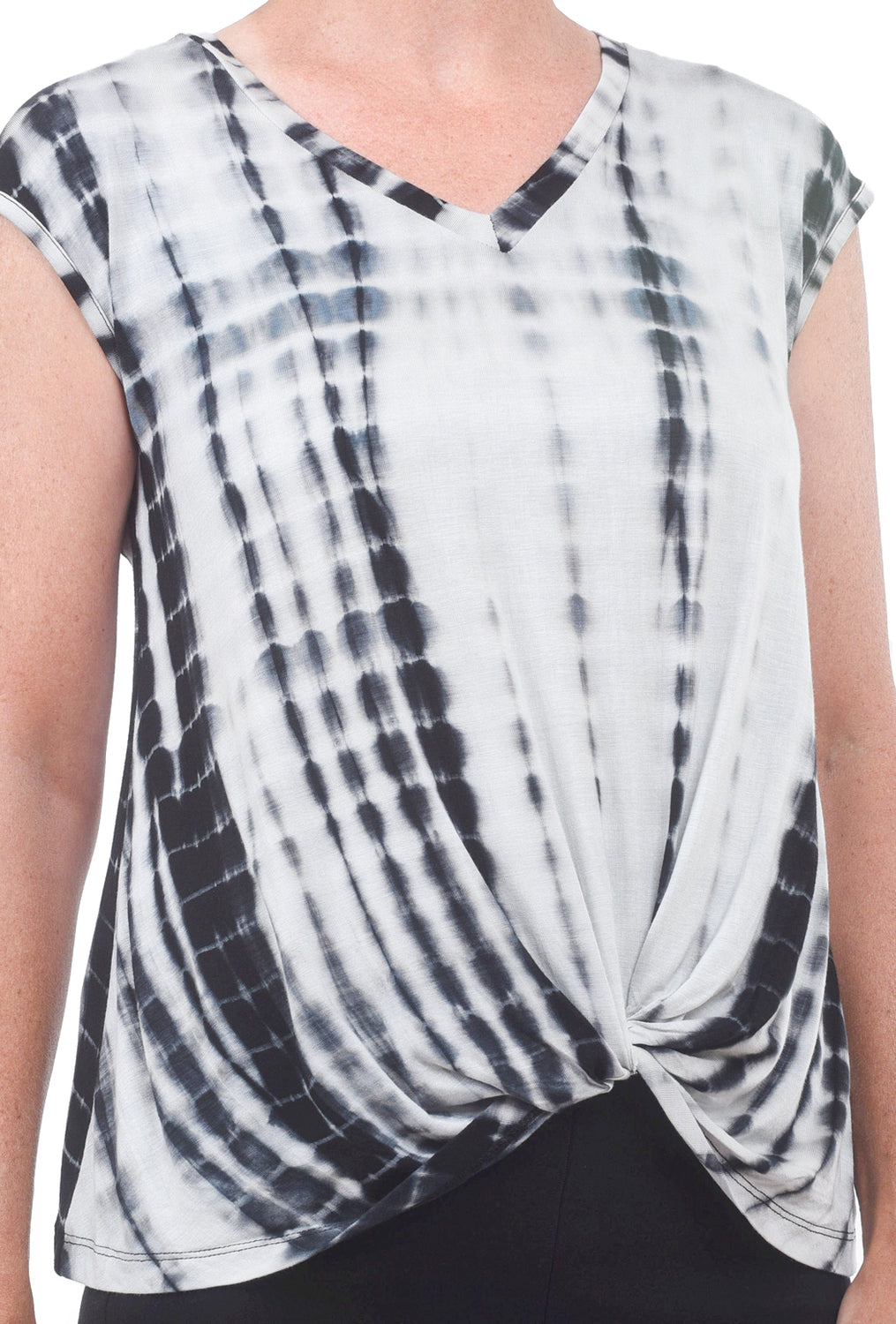 Coin1804 Tie-Dye Twist Front Top, Black Multi