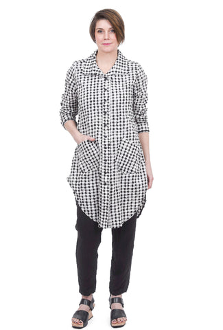 Cynthia Ashby Check Tunic Shirt, Natural