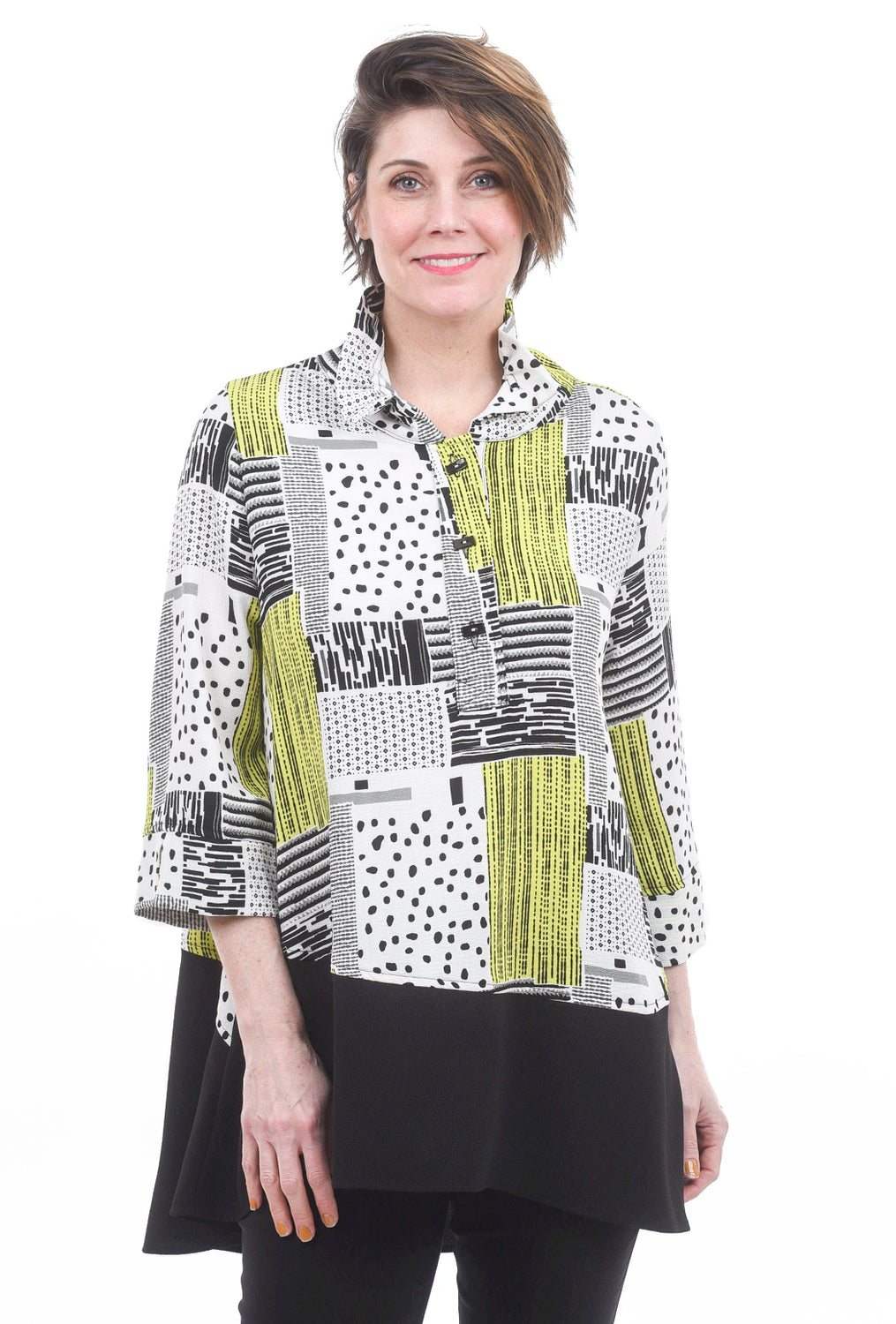 Moonlight Wire Collar Half Placket Blouse, Lime