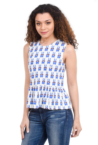 People Tree Peter Jensen Rabbit Top, Blue