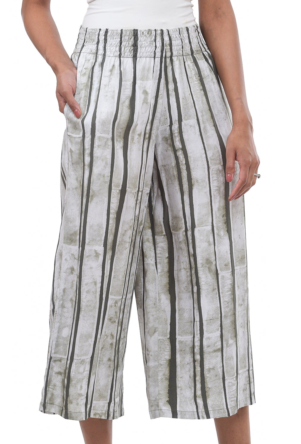 Iguana Stripey Palazzo Pants, Green/Cream