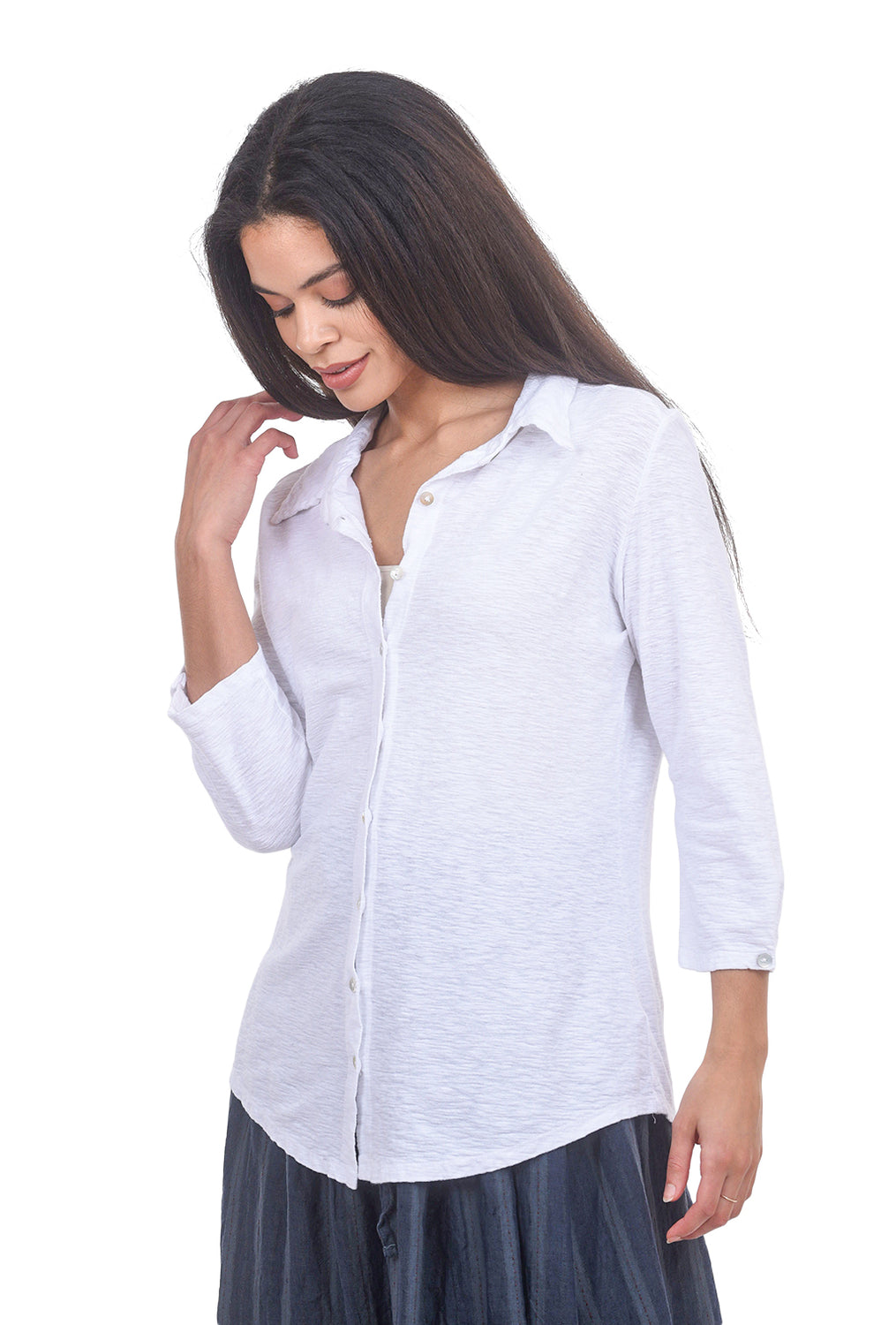 Cut Loose LJ 3/4-Sleeve Button Tee, White
