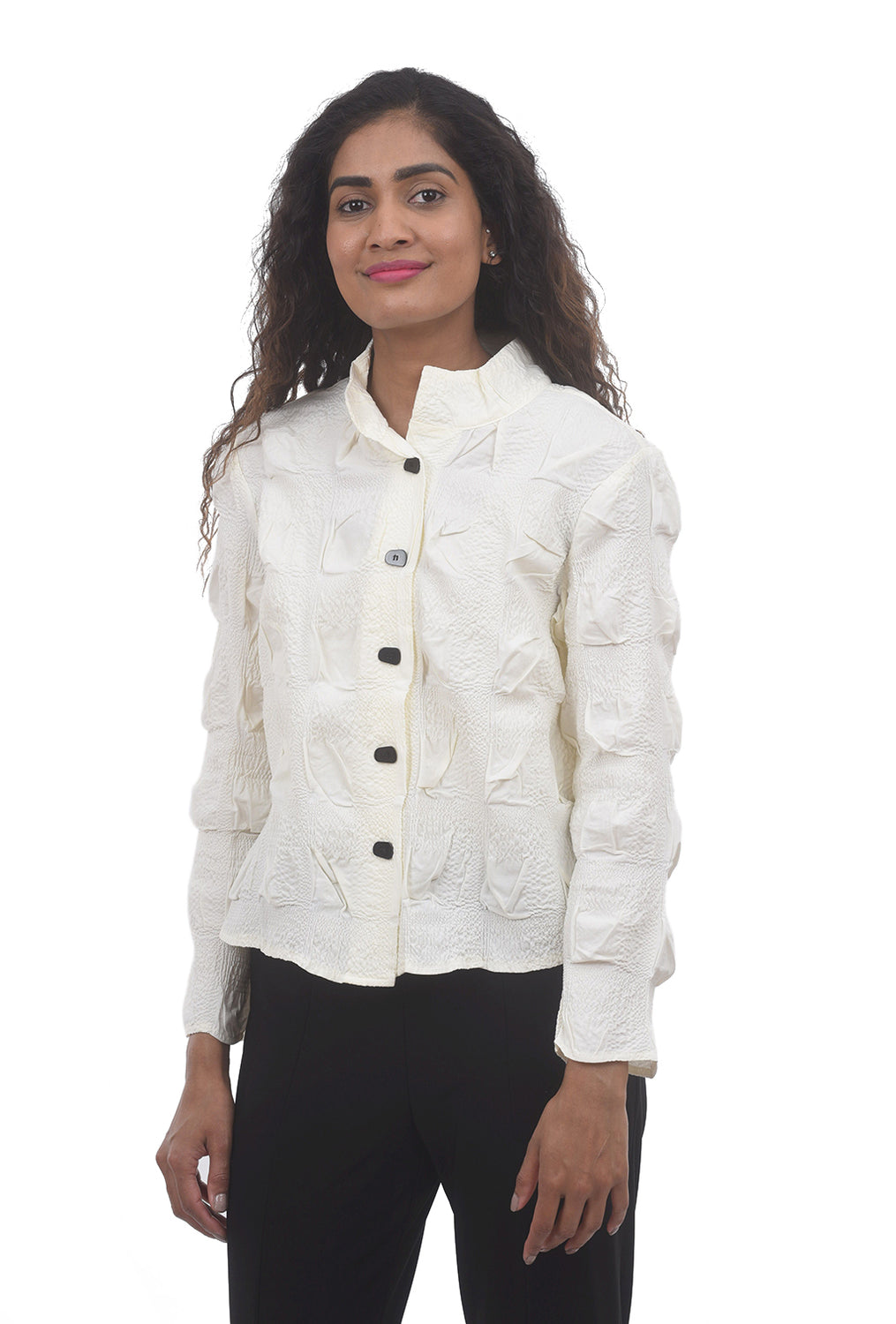Liv by Habitat Windowpane Crop Jacket, Winter White