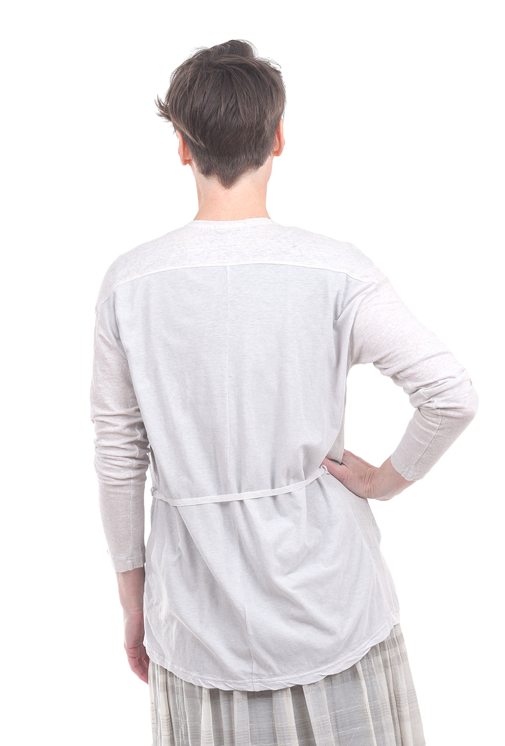 Pas De Calais Bamboo-Linen Drape Cardie, Lightest Gray