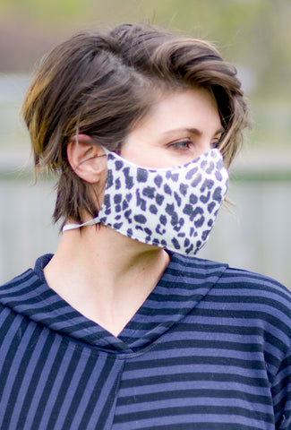 Color Me Cotton CMC Print Face Mask, White Leopard