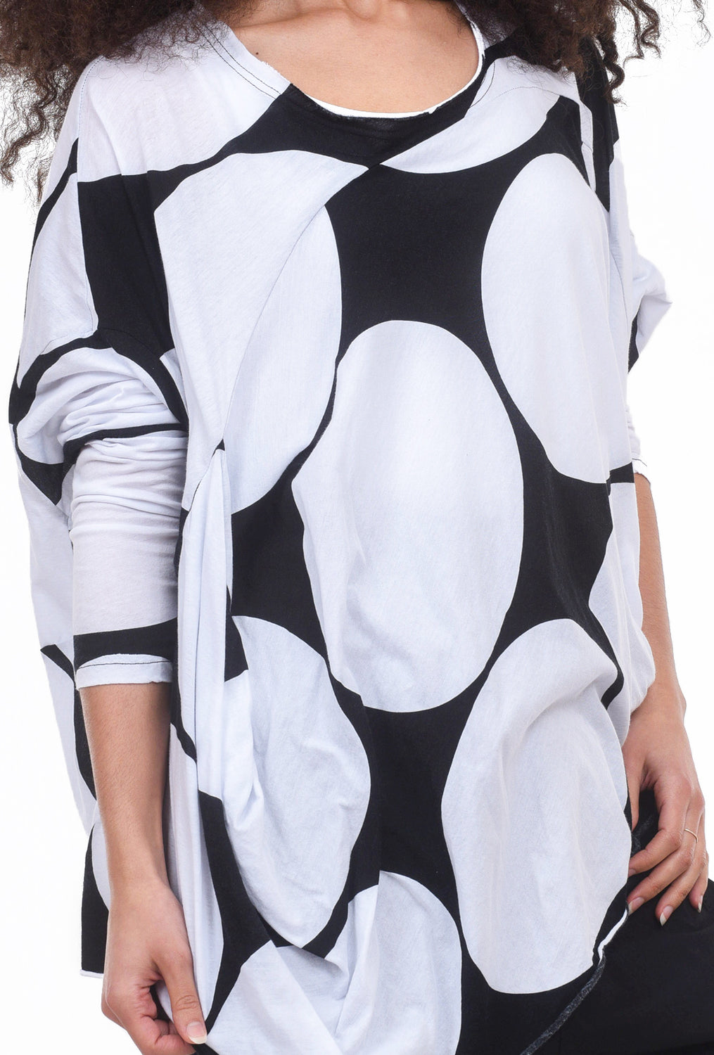 Rundholz Black Label Oversized Dot Tee, White Dot One Size White