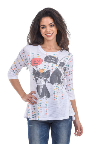 Inoah She Is the Queen Tee, White Multi