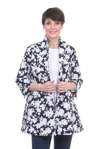 Estelle & Finn Signature Swing Coat, Navy/White Print