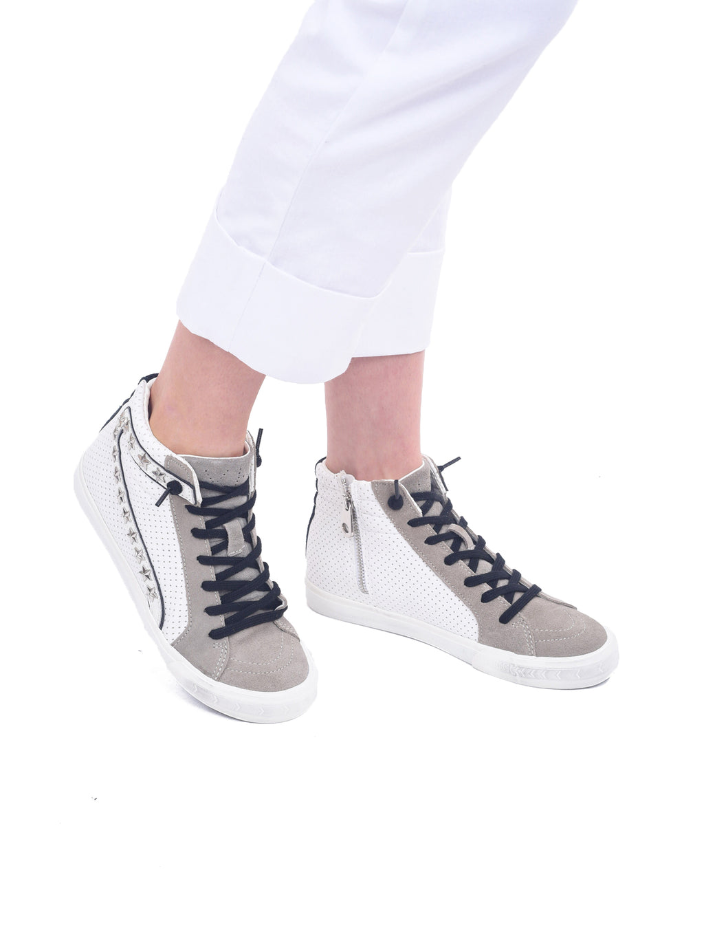 Vintage Havana Gadol High-Top Sneakers, White/Studs