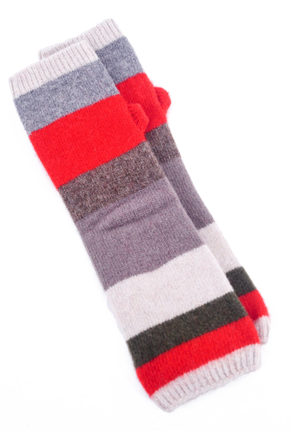 Santacana Madrid Fingerless Long Cashmere Gloves, Cream/Red One Size Cream