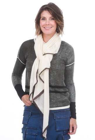 Grisal Salem Tipped Scarf, Cloud/Coffee One Size Cloud