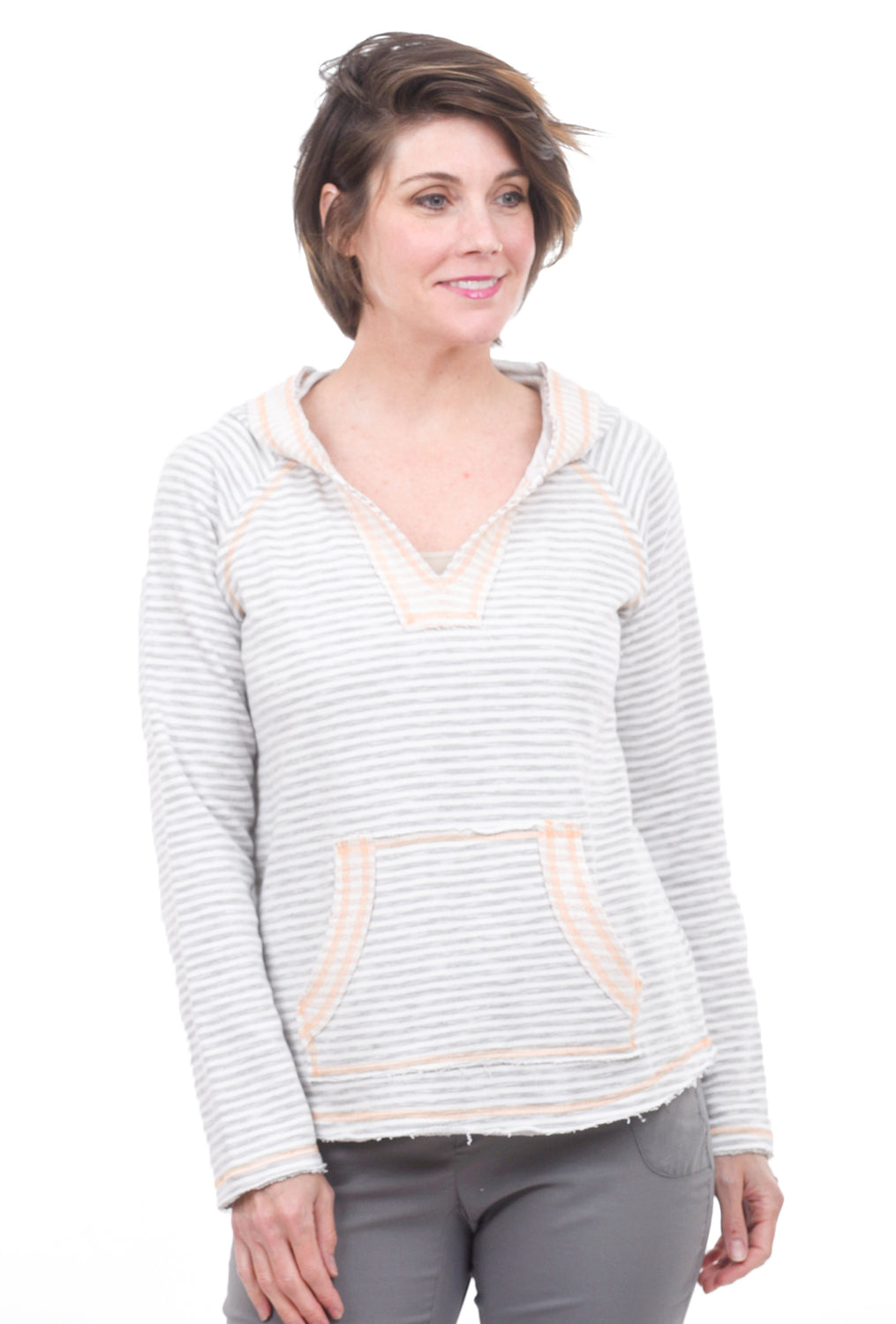 Hem & Thread Vintage Stripe Detail Hoodie, Gray/Orange