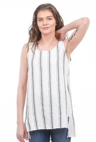Luukaa Jasmine Striped Linen Tank, Off-White
