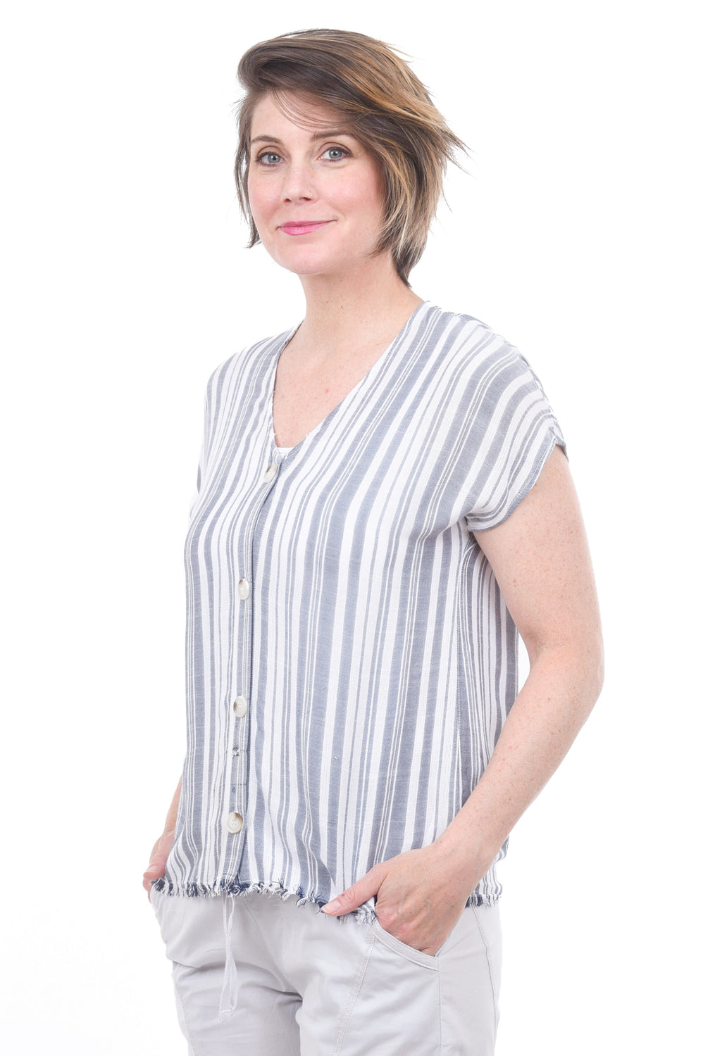 XCVI Cian Top, Blue Stripe
