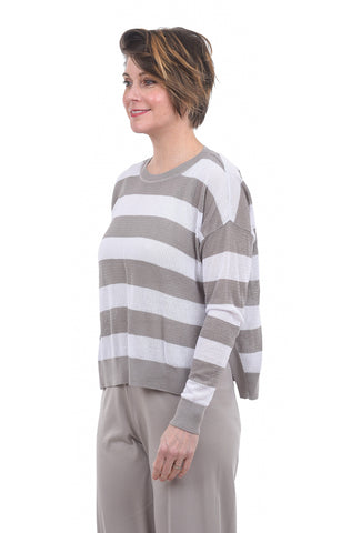 Planet Striped Seed Stitch Sweater, Ash/White One Size Ash