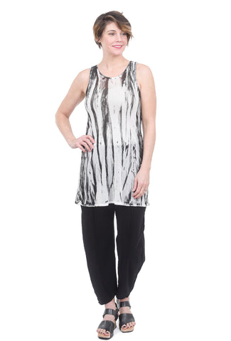 Cynthia Ashby Mesh Sleeveless Tunic, White/Black