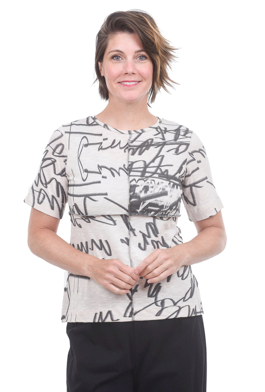 T/9 Overstitched Typo Tee, Nude