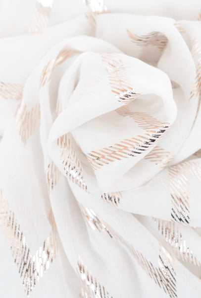 Paisley Road Lurex Accents Scarf, White Zig Zag