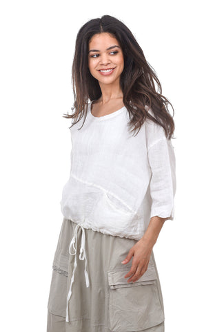 Luukaa Nicole Seams Drawstring Blouse, White