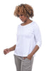 Lilla P 3/4-Sleeve Pleat Back Tee, White