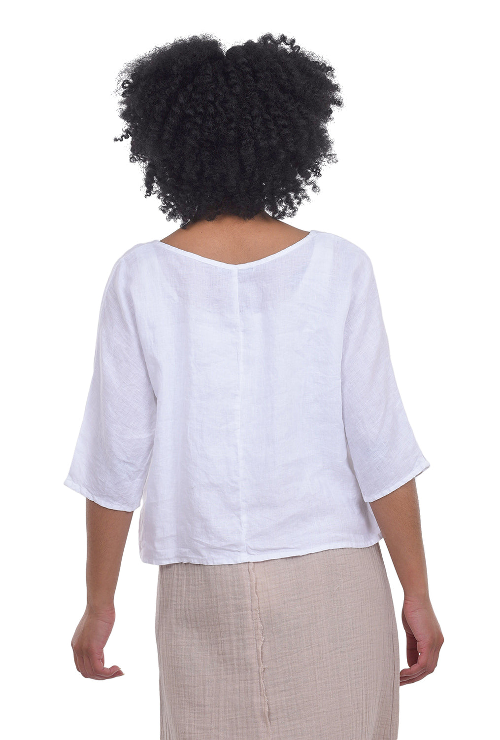 Cut Loose Hanky Linen Oversized Top, White One Size White