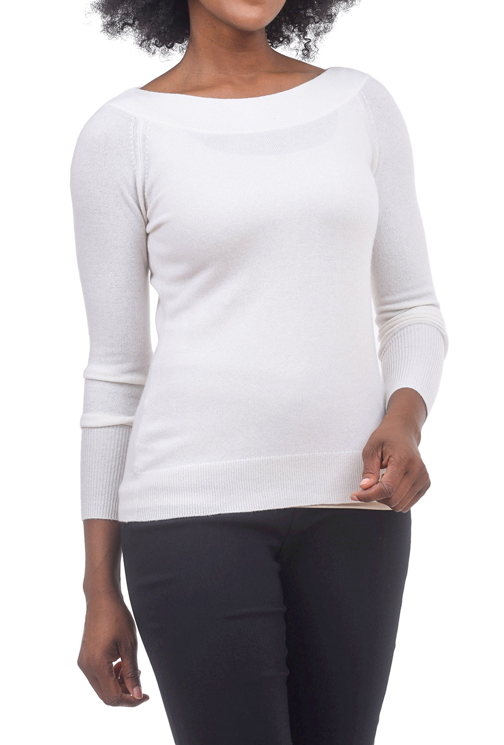 Kinross Cashmere Shaped Cashmere Boatneck Sweater, Ivory