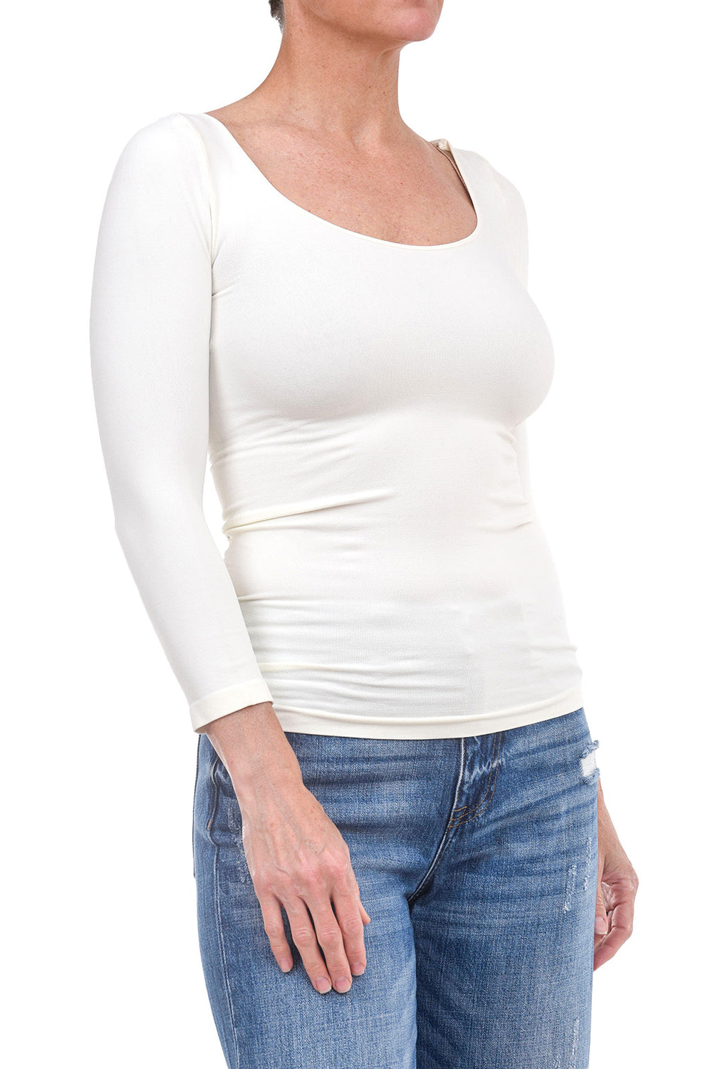 Tees by Tina 3/4-Sleeve Layer Top, White One Size