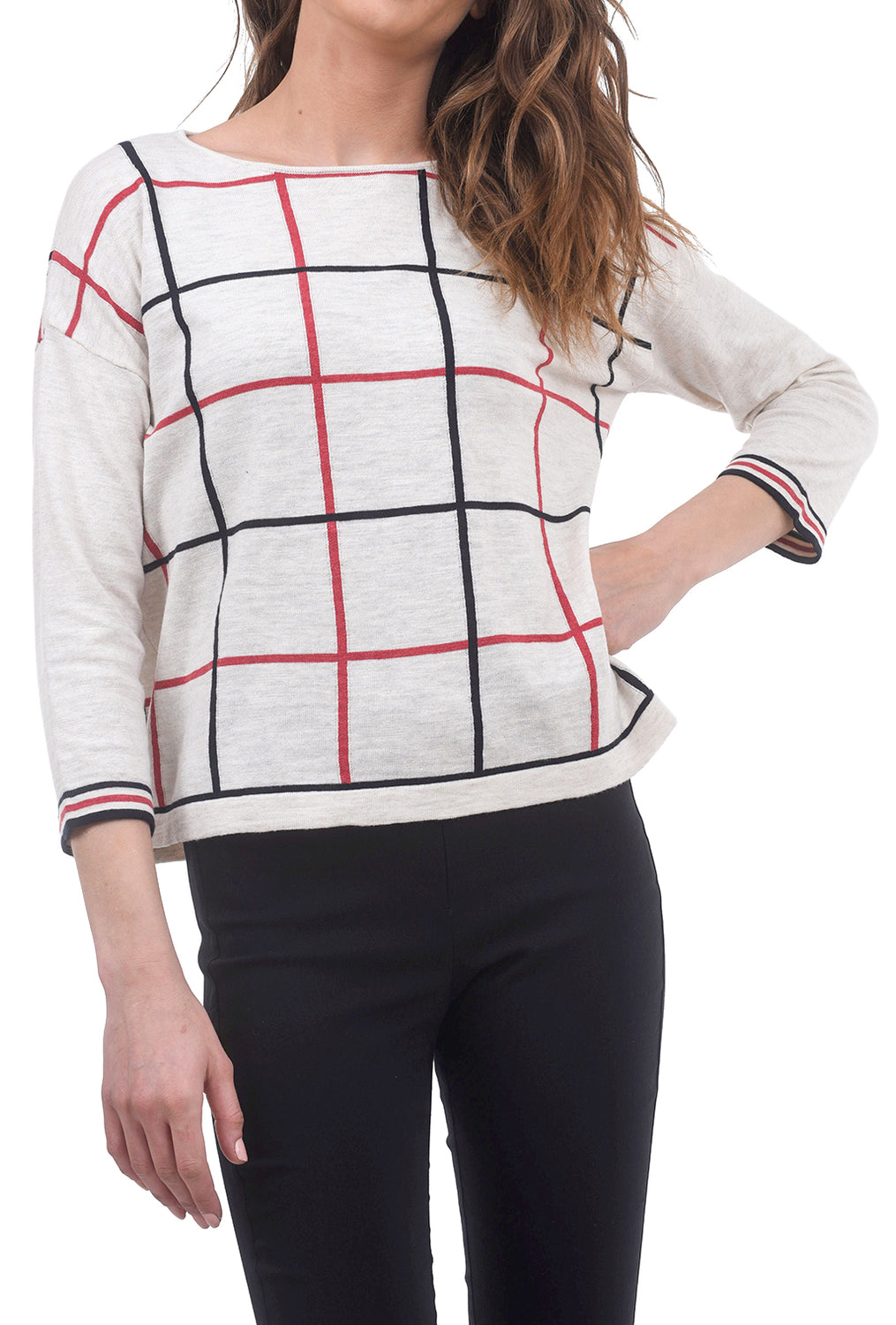 Two Danes Cotton Grid Karina Sweater, Cream