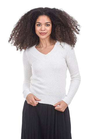 Margaret O'Leary Knits Melissa V Sweater, Chalk White