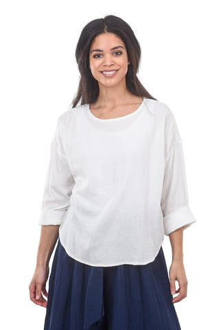 Voloshin Ella Cotton Gauze Top, White
