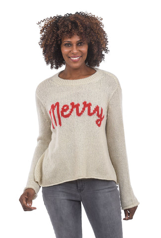 Wooden Ships Merry Crewneck Sweater, Off-White/Red