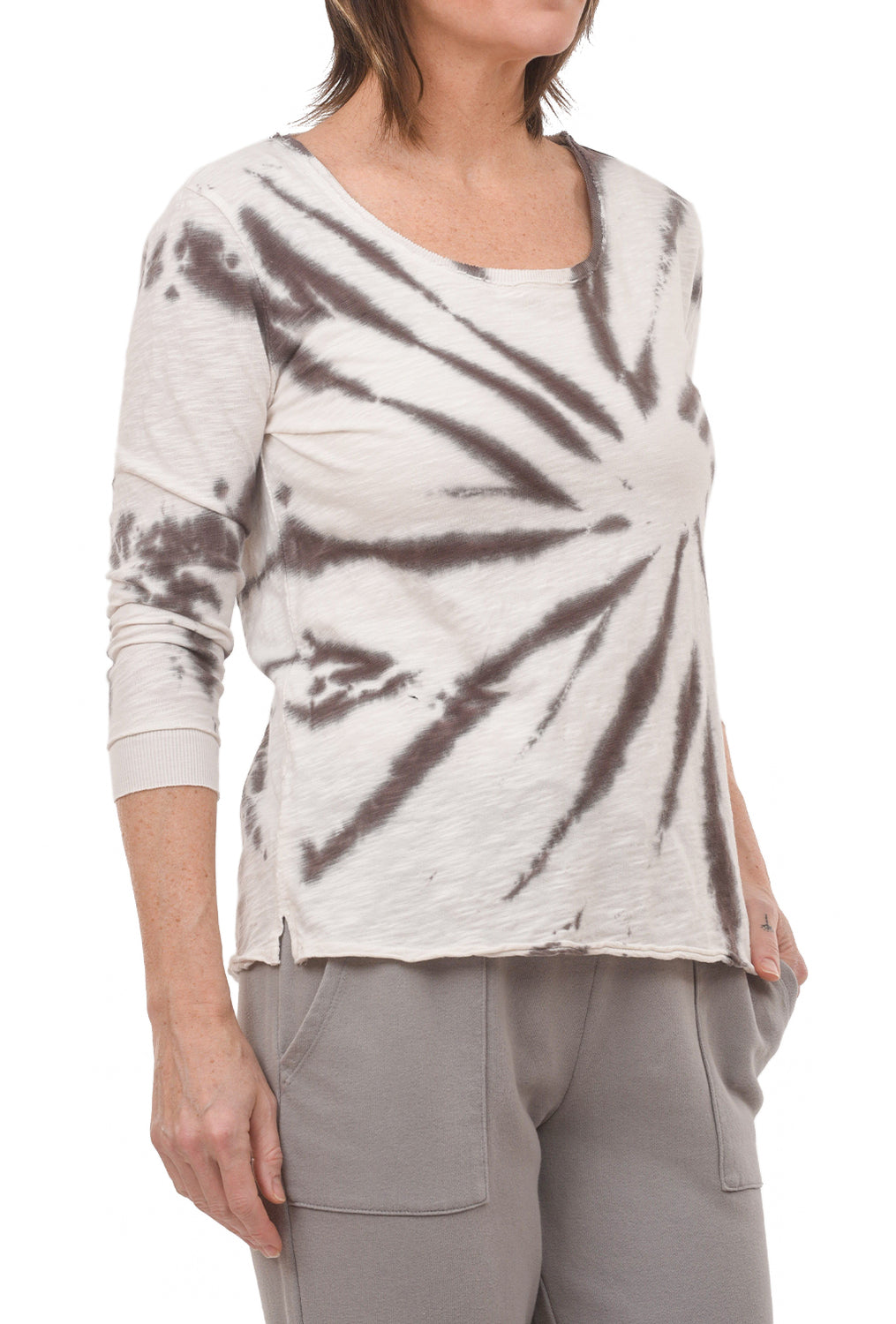 Mododoc Los Angeles 3/4-Sleeve Tie-Dye Tee, Brown Agate