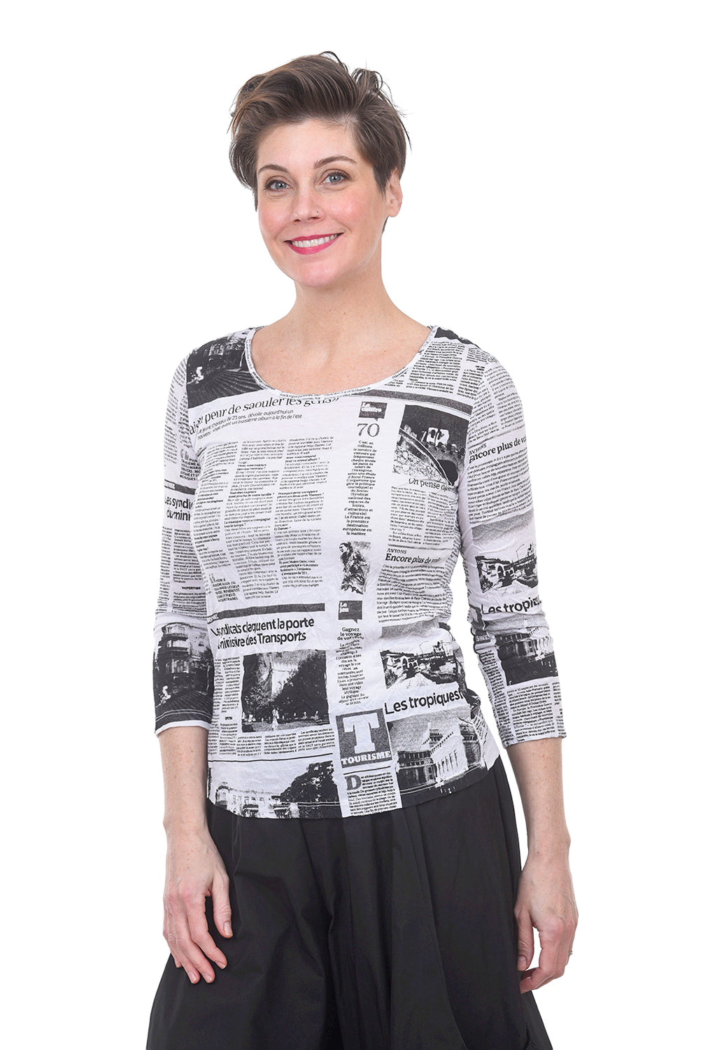 Comfy USA 3/4-Sleeve Crinkle Tee, White Newsprint