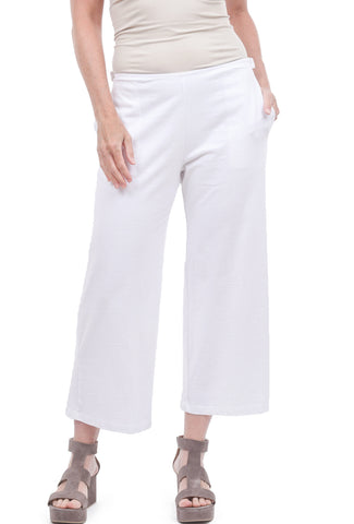 Fenini Flat Front Cropped Pants, White