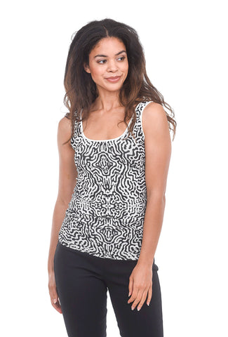 Tees by Tina Tribal Python Tank, Cream/Black One Size Print